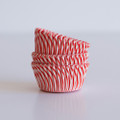 Mini Strawberry Red Carnival Stripe Cupcake Liners