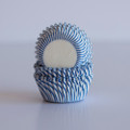 Mini Royal Blue Carnival Stripe Cupcake Liners
