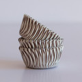 Mini Milk Chocolate Brown Carnival Stripe Cupcake Liners