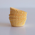 Mini Sunshine Yellow Carnival Stripe Cupcake Liners