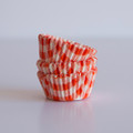 Mini Tangerine Orange Gingham Cupcake Liners