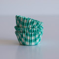 Mini Teal Green Gingham Cupcake Liners