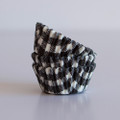 Mini Black Licorice Gingham Cupcake Liners