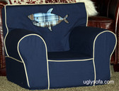 """Mark E. Shark"" Applique'd Ugly-Where Chair - Regular Size - Free Personalization"