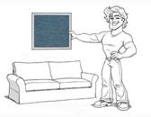 Comfort Grand Sofa Slipcover Set - Box Edge Cushions - Indigo Denim