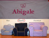 Premonogrammed Regular Size Ugly-Where Chair - Abigale - D52 - Light Pink w/ Pink Piping