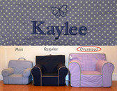 Pre-Monogrammed Large (Oversized) Ugly-Where Chair - Kaylee - D502 - Lavender Mini Dot