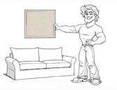 Comfort Grand Sofa Slipcover Set - Knife Edge Cushions - Stone Brushed Canvas - loc120-1