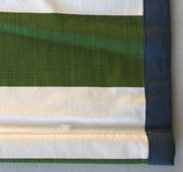 "Rugby Stripe Green/Navy Cordless Roman Shades w Blackout Lining - 64"" length - Various Widths"