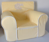 Embroidered Swirly Sheep Ugly-Where Chair - Regular Size - Yellow with White Piping