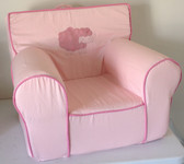 Embroidered 'Swirly Sheep' Ugly-Where Chair - Regular Size - Light Pink with Pink Piping
