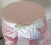 Vanity Stool Cover - Light Pink with White Bow