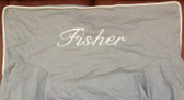 Premonogrammed Regular Size Ugly-Where Chair - Fisher -  L149 - Light Gray, White Piping