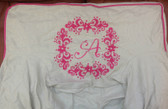 Premonogrammed Regular Size Ugly-Where Chair - A -  L218 - Ivory Linen, Pink Piping