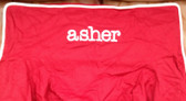 Premonogrammed Regular Size Ugly-Where Chair - asher - L403 - Red, White Piping