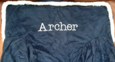Premonogrammed Regular Size Ugly-Where Chair - Archer - L365 - Navy Suede, Sherpa Trim