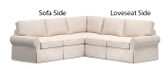 Pottery Barn Basic 2 Piece Sectional Slipcover Set (Left Sofa, Right Loveseat)  - Sage Brushed Canvas