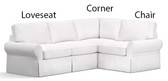 Pottery Barn Basic Left 3 Piece Sectional Slipcover Set (Left Loveseat, Corner, Right Armchair) -  Sierra Red Brushed Canvas