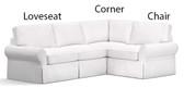 Pottery Barn Basic Left 3 Piece Sectional Slipcover Set (Left Loveseat, Corner, Right Armchair) -  Sierra Red Brushed Canvas