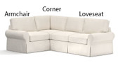 Pottery Barn Basic Right 3 Piece Sectional Slipcover Set (Right Loveseat, Corner, Left Armchair) -  Sierra Red Brushed Canvas