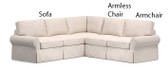 Pottery Barn Basic 3 Piece Sectional Slipcover Set (Left Sofa, Armless Chair, Right Armchair) - Walnut Brushed Canvas