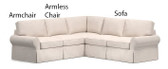 Pottery Barn Basic 3 Piece Sectional Slipcover Set (Right Sofa, Armless Chair, Left Armchair) - Natural Performance Twill
