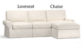 Pottery Barn Basic 2 Piece Sectional Slipcover Set (Left Loveseat, Right Chaise) - White Bull Denim