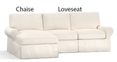 Pottery Barn Basic 2 Piece Sectional Slipcover Set (Right Loveseat, Left Chaise) - Silver Taupe Washed Linen/Cotton