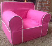 Ugly-Where Chair Slipcover - Regular Size - Free Personalization - Hot Pink, White Piping