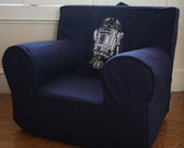 Ugly-Where Chair Slipcover - Regular Size - Free Personalization - Navy, R2D2 Patch