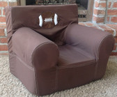 Ugly-Where Chair Slipcover - Regular Size - Free Personalization - Chocolate Football Applique