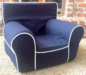 Ugly-Where Chair Slipcover - Regular Size - Free Personalization - Navy, White Piping