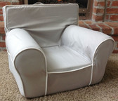 Ugly-Where Chair Slipcover - Regular Size - Free Personalization - Gray, White Piping
