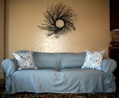 Everyday tie slipcover in slate twill with accent pillows.