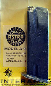 This is an USED 9 round factory Astra magazine for the A-90 45 acp. Magazines have metal followers.