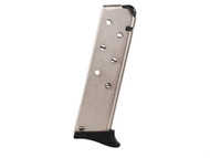 This is a 7 round Bersa magazine with a fingerest made for the Thunder .380 with a nickel finish, made by ProMag.