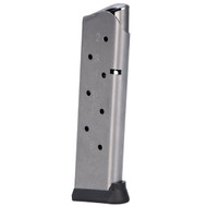 This is a 1911 magazine chambered in .45 ACP stainless steel finish with an 8 round capacity, made by Metalform.