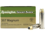 Remington Golden Saber .357 magnum 125 Grain Brass Jacketed Hollow Point, has 25 rounds per box, manufactured by Remington.