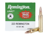 Remington UMC .223 remington 55 Grain Full Metal Jacket, has 50 rounds per box, manufactured by Remington.