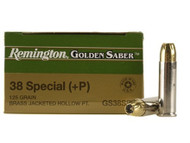 Remington Golden Saber .38 special +P 125 Grain Brass Jacketed Hollow Point, has 25 rounds per box, manufactured by Remington.