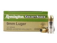 Remington Golden Saber 9mm 147 Grain Brass Jacketed Hollow Point, has 25 rounds per box, manufactured by Remington.