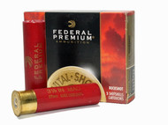 "Federal Premium Vital-Shok 12 gauge, 3 1/2"" Magnum shell loaded with 27 pellets of #1 copper plated buckshot, 5 rounds per box, manufactured by Federal Cartridge Company."