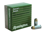 Remington Golden Saber .45 ACP 230 Grain Brass Jacketed Hollow Point, has 25 rounds per box, manufactured by Remington.