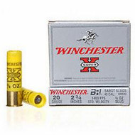 "Winchester Super X 20 gauge, 2 3/4"" shell loaded with BRI rifled sabot slug (5/8 oz.), 5 rounds per box, manufactured by Olin under the Winchester trademark."