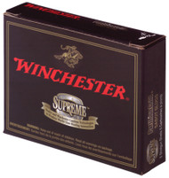 "Winchester Supreme 20 gauge, 2 3/4"" shell loaded with a 260 grain partition gold sabot slug, 5 rounds per box, manufactured by Olin under the Winchester trademark."