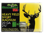 """Brenekke Heavy Shield Short Magnum 20 gauge, 2 3/4"""" shell loaded with a lead slug (1 oz.), 5 rounds per box, manufactured by Brenneke."""