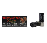 "Winchester Supreme XTENDED RANGE High Density Turkey Load 12 gauge, 2 3/4"" shell loaded with #6 shot (1 1/2 oz.), 10 rounds per box, manufactured by Olin under the Winchester trademark."