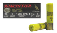 "Winchester Supreme High Velocity Turkey Loads 20 gauge, 3"" shell loaded with 4 copper-plated lead shot (1 5/16oz.), 10 rounds per box, manufactured by Olin under the Winchester trademark."