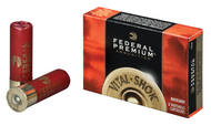"Federal Premium Vital-Shok 12 gauge, 3 1/2"" Magnum shell loaded with 18 pellets of 00 copper plated buckshot, 5 rounds per box, manufactured by Federal Cartridge Company."
