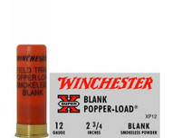 "Winchester Super Black Powder Blank Load 12 gauge, 2 3/4"" shell loaded with black powder, 25 rounds per box, manufactured by Olin under the Winchester trademark."